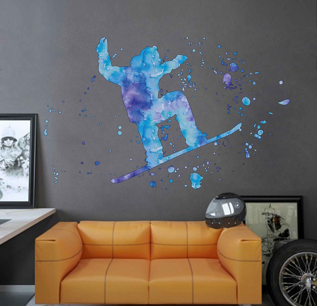 Cik1848 Full Color Wall Decal Watercolor Snowboarding Snowboarder Snow Sport Spray Paint Room Bedroom In 2019 Nate