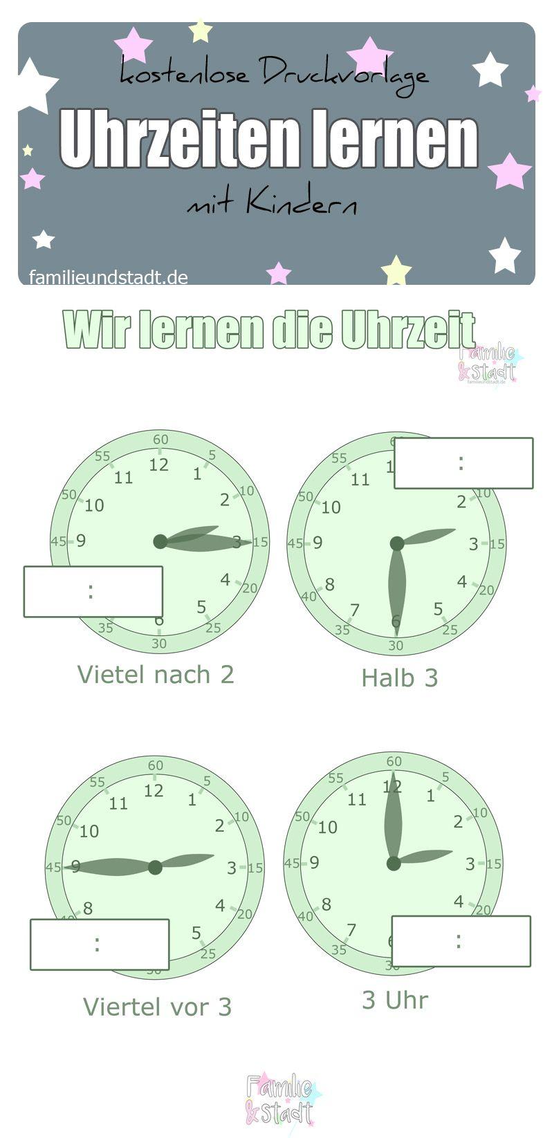 Uhrzeiten lernen mit Kindern - Druckvorlage | Pinterest ...