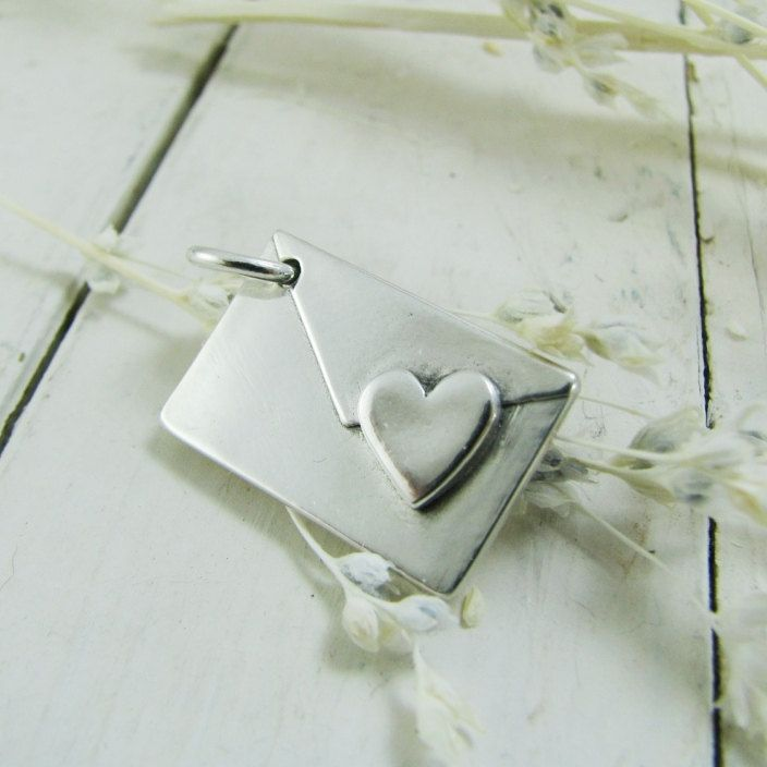 Personalized love letter artisan handmade pmc fine silver pendant personalized love letter artisan handmade pmc fine silver pendant envelope with heart and custom aloadofball Image collections