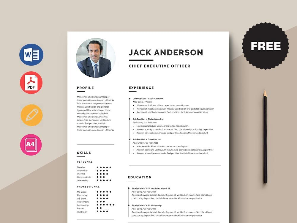 Free Chief Executive Officer Ceo Resume Template With Simple Look Resume Template Resume Design Creative Cv