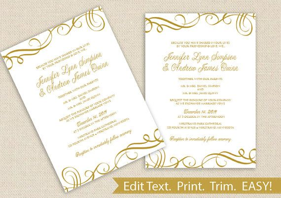 Printable Wedding Invitation Template - DOWNLOAD Instantly - microsoft word template invitation