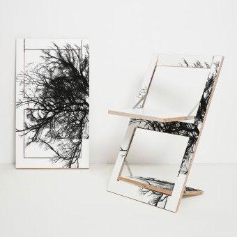 Ambivalenz Klappstuhl Flapps Baum Weiss Einseitig Bedruckt