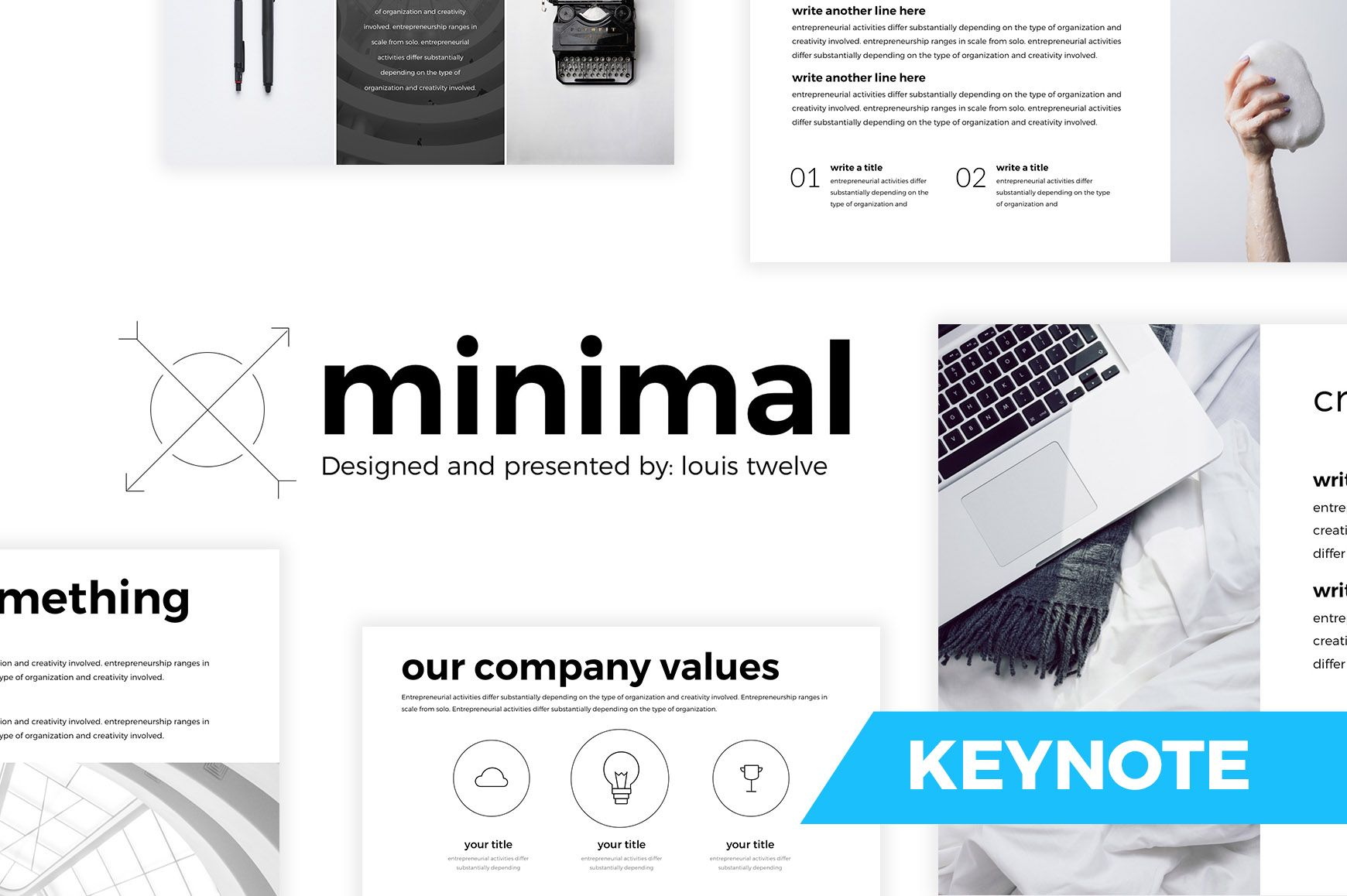 Download this free trendy minimal keynote template suitable to show