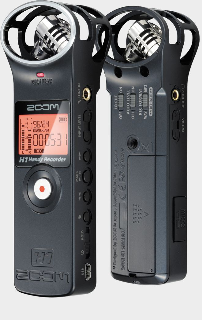 Zoom H1 Handy Recorder Front And Back Records Micro Sd Card