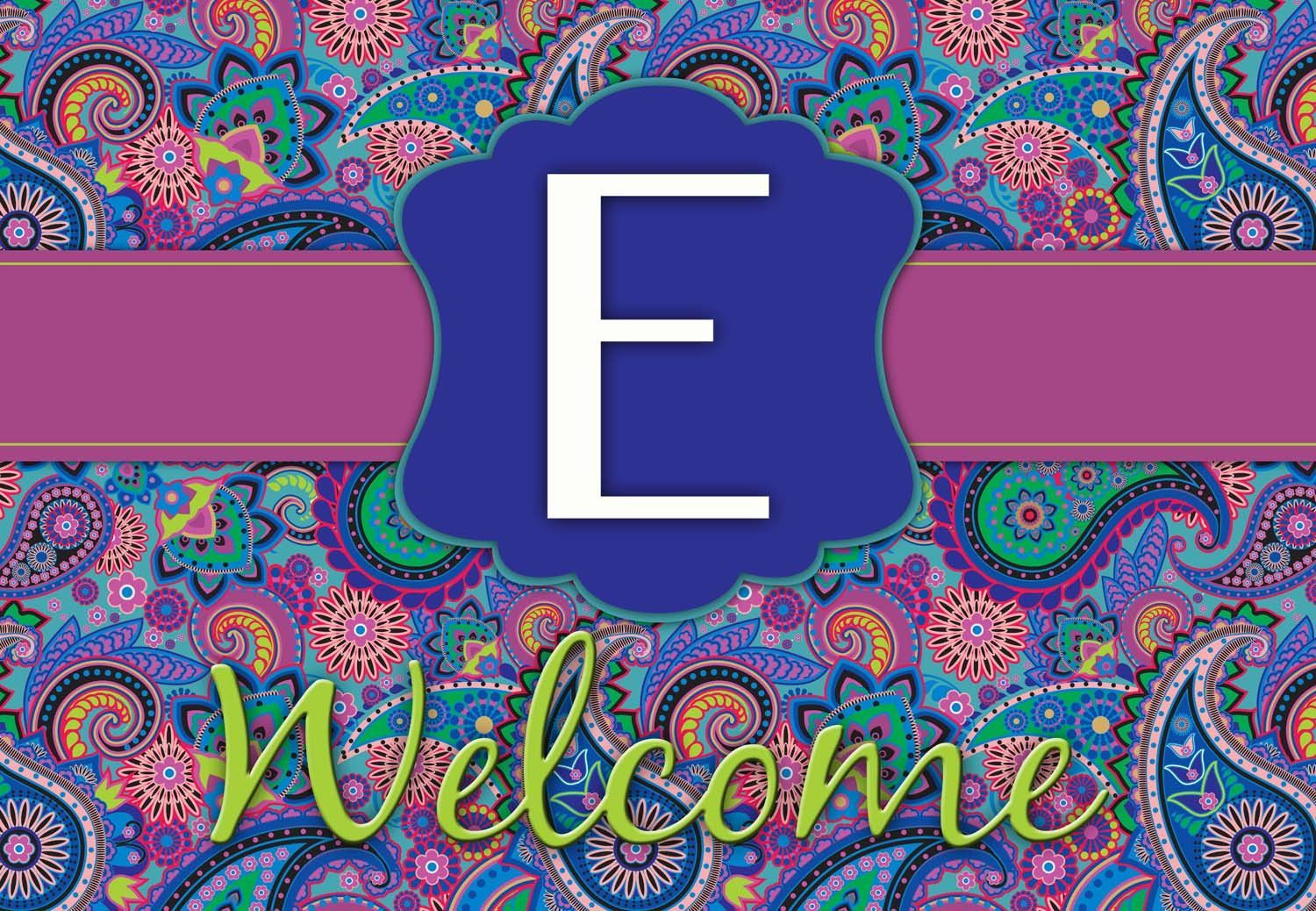 Bold Paisley Initials Welcome Mat
