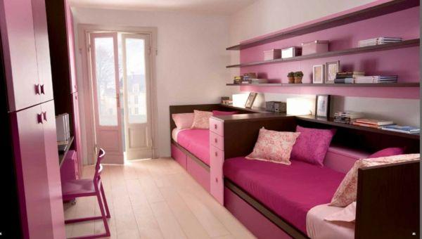 Kinderzimmer gestalten Rosa wandregale bücher balkon Kinderzimmer