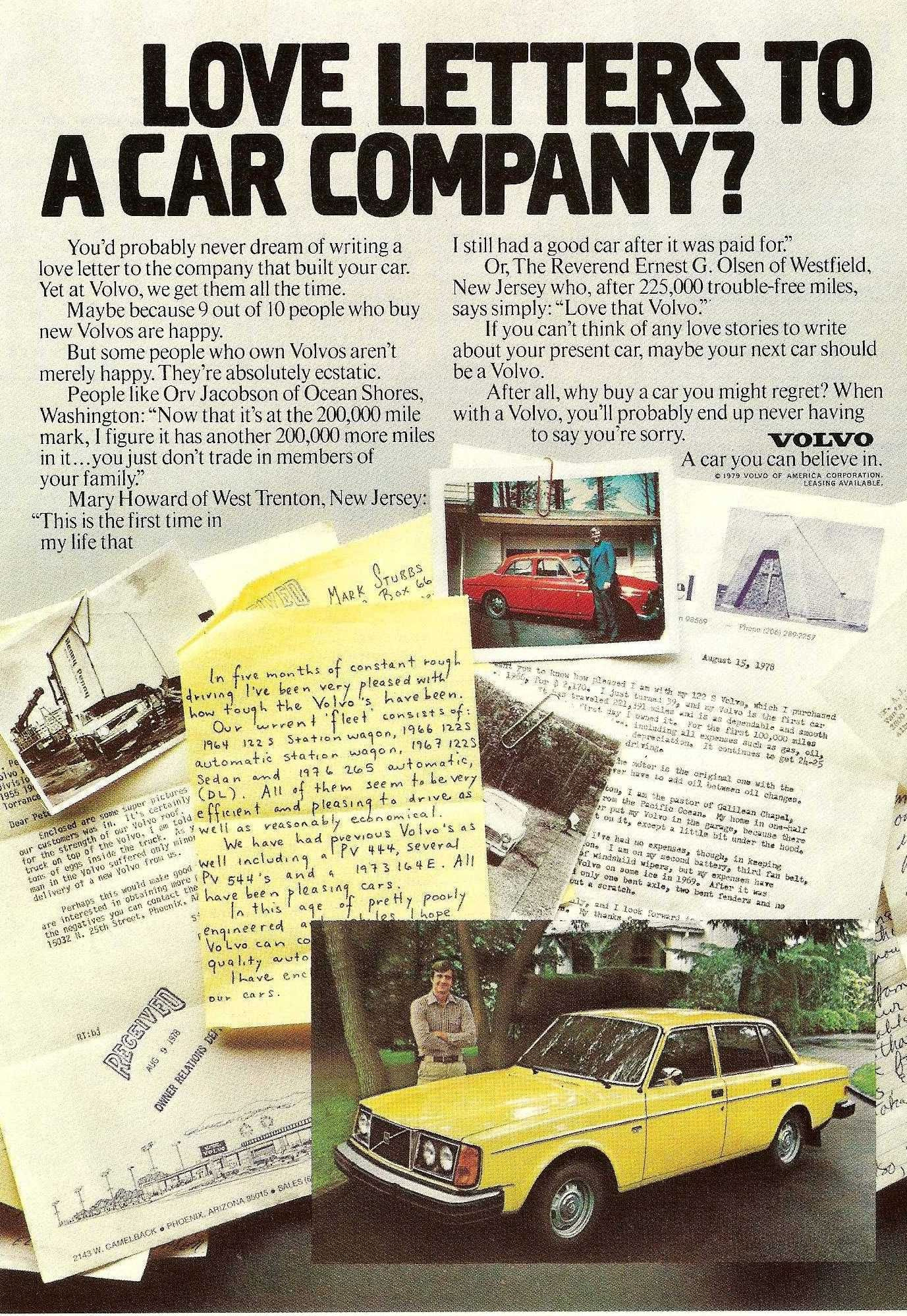 1979 Volvo 240 Ad: Love Letters to a Car Company? | Models, Volvo ad and Cars