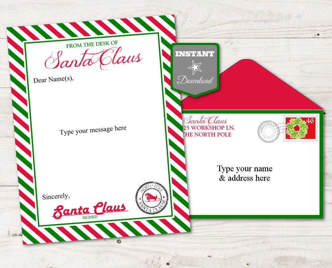 INSTANT DOWNLOAD Editable Santa Claus Letter Head / You