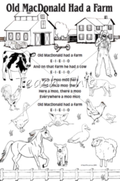 Old Mcdonald Mono Printable Nursery Rhymes And Songs Macdonald Coloring Pages Book Ideas Gallery Area Best