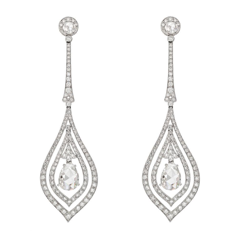 Estate Betteridge Collection Pear Shaped Diamond Drop Earrings Alguien Lo Presta