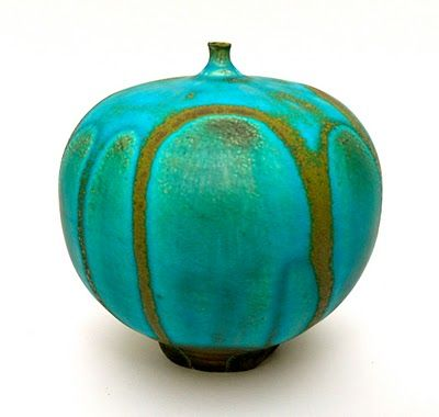 "Rose Cabat ""Feelie No. 4, Turquoise with Gold Drips"" c. late 1960's, early 1970's"