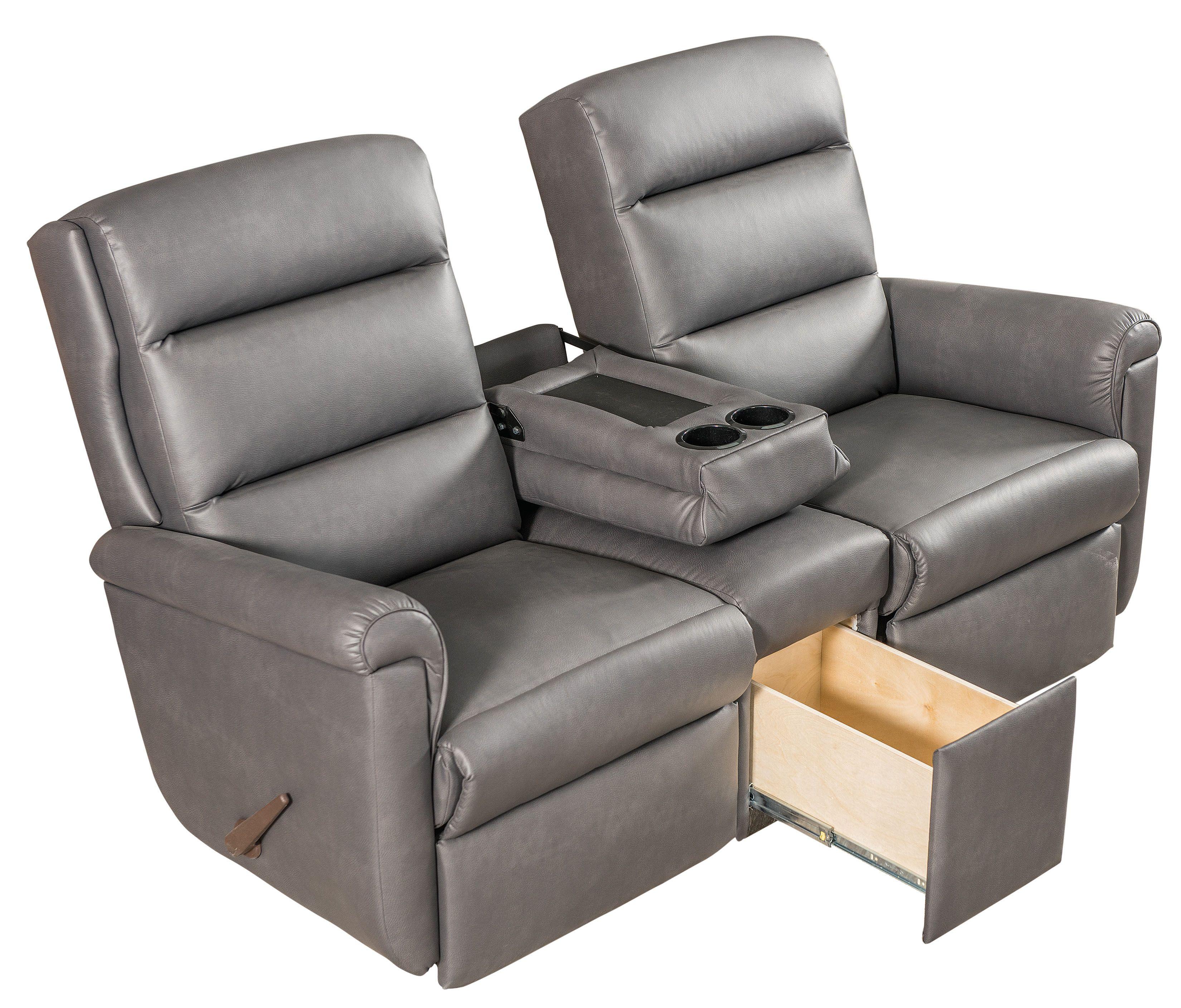 Lambright Elite Theater Seating Wall Hugger Recliners Available Manual Or Power Fold Down Center Console With Cup Holders Rv Furniture Rv Recliners Rv Sofa Recliner with cup holder and storage