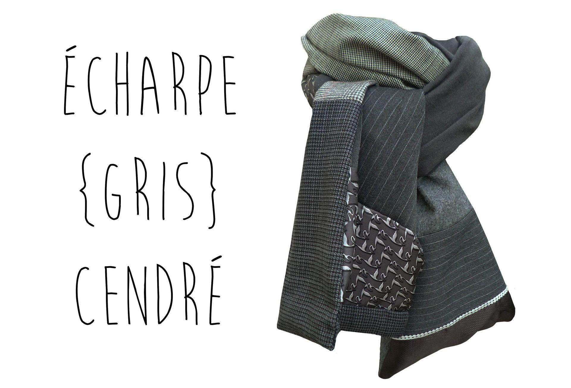 Echarpe Homme Femme Laine Hiver Gris Pied de Poule Prince de Galles Fait Main Modèle Unique : Echarpes par lefil
