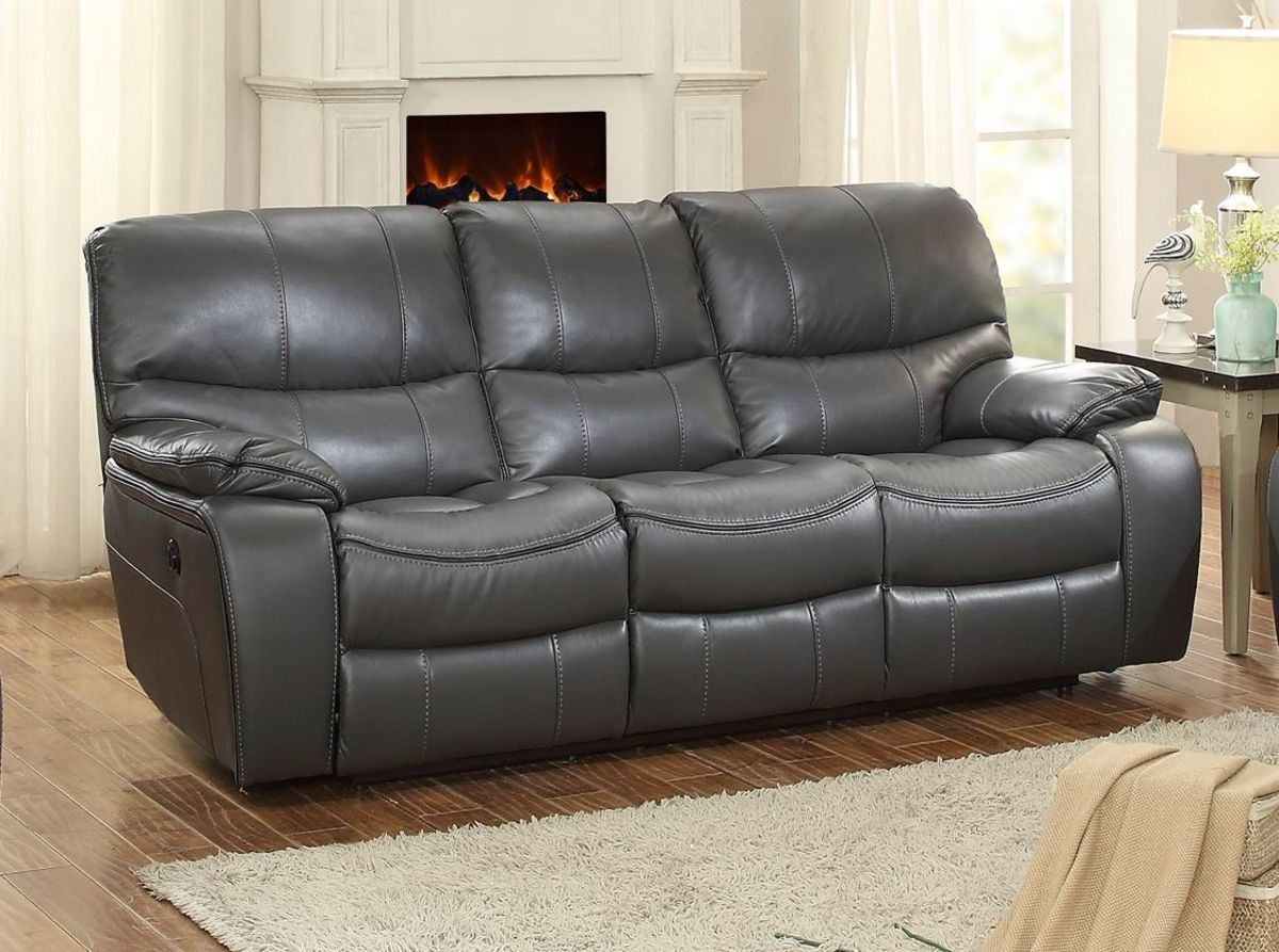 Leather Sofa Pecos Collection Power Double Reclining Sofa GRY PW The Pecos Collection blends style and function to create a platform for relaxation