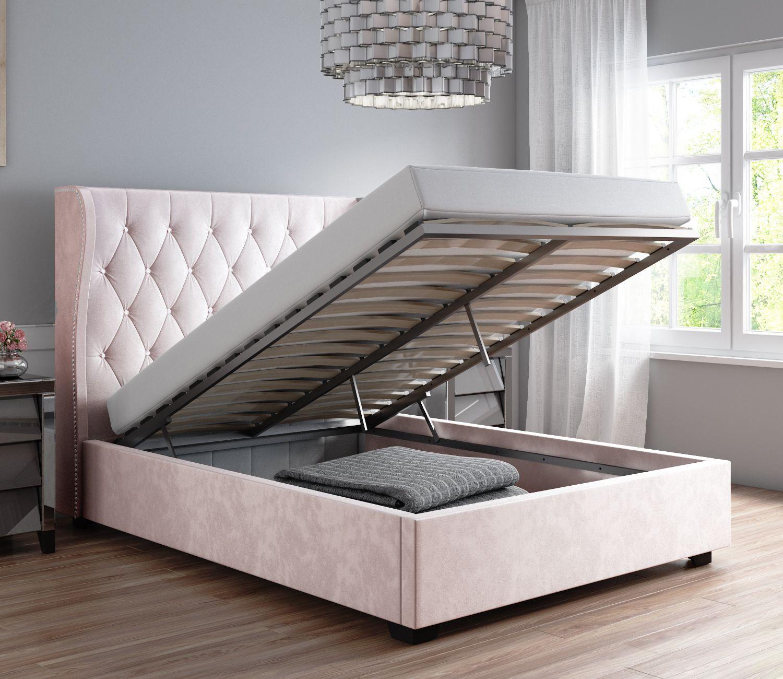 abbbd41998 Safina Diamante Wing Back Double Ottoman Bed in Light Pink Velvet SAF037