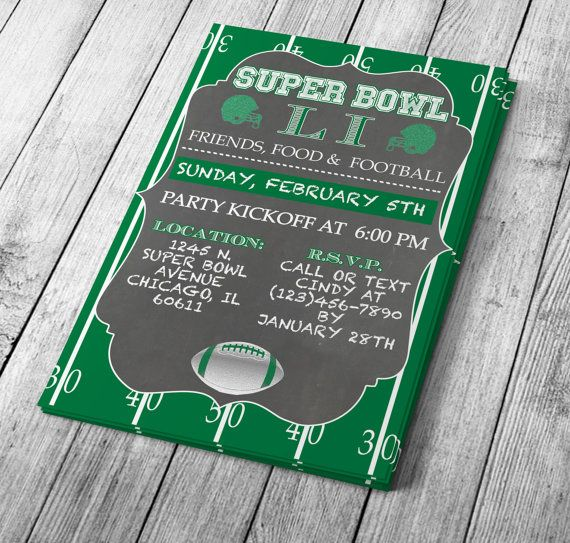 UPDATED for Super Bowl LII - Super Bowl Microsoft Word Invitation - ms word invitation templates