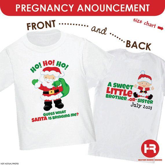 db29740fcb1a3 Christmas Pregnancy Announcement Shirt - Santa Big Sister Shirt or Santa  Big Brother Shirt - Guess what santa's bringing me on Etsy, $21.50