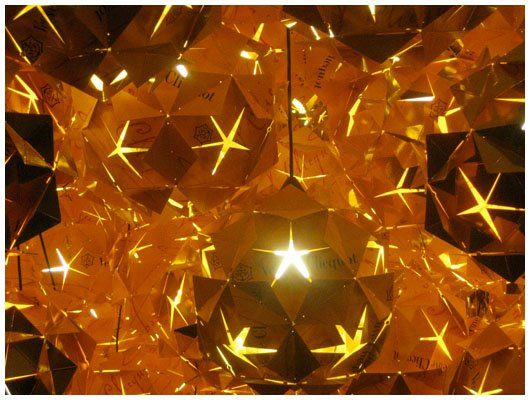 Folded paper light installation for Veuve Cliquot by Tom Dixon - photo MM
