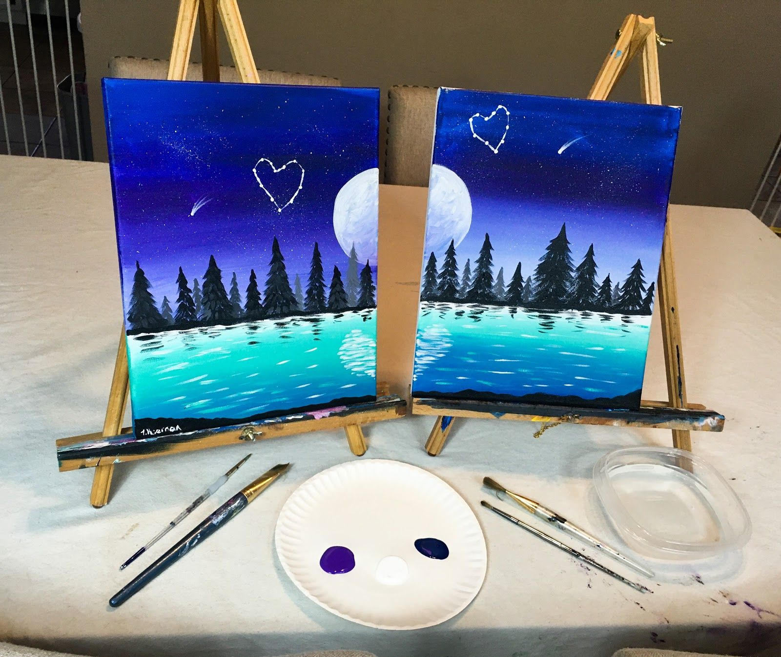 Couples Painting Date Night At Home Paint Sip Couple S Edition Couples Canvas Painting Night Painting Mini Canvas Art