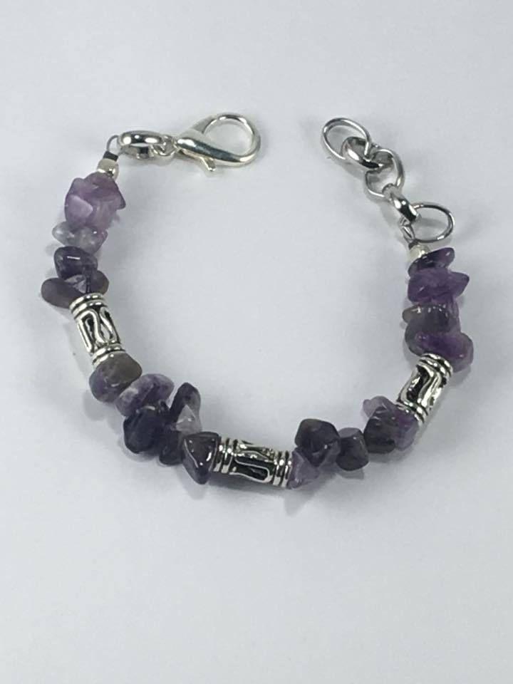 Handmade Mens Genuine Purple Amethyst Gemstone bracelet Mens