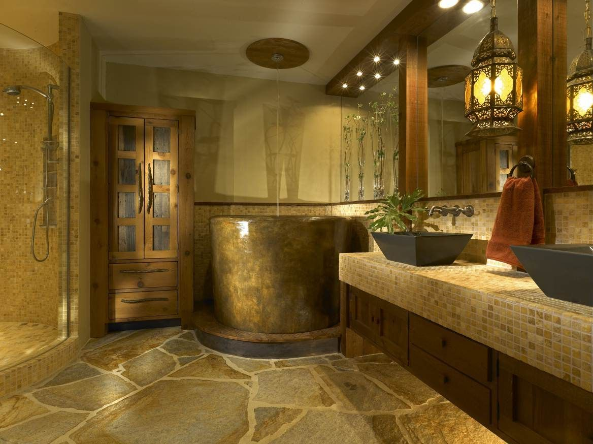 African Inspired Master Bathroom With Japanese Soaking Tub Shower Combo Design Interior Decor Best