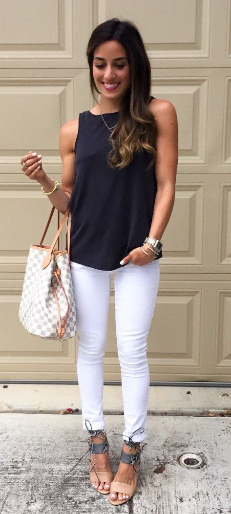 #spring #outfits Black Top & White Skinny Jeans & White & Grey Checked Tote Bag