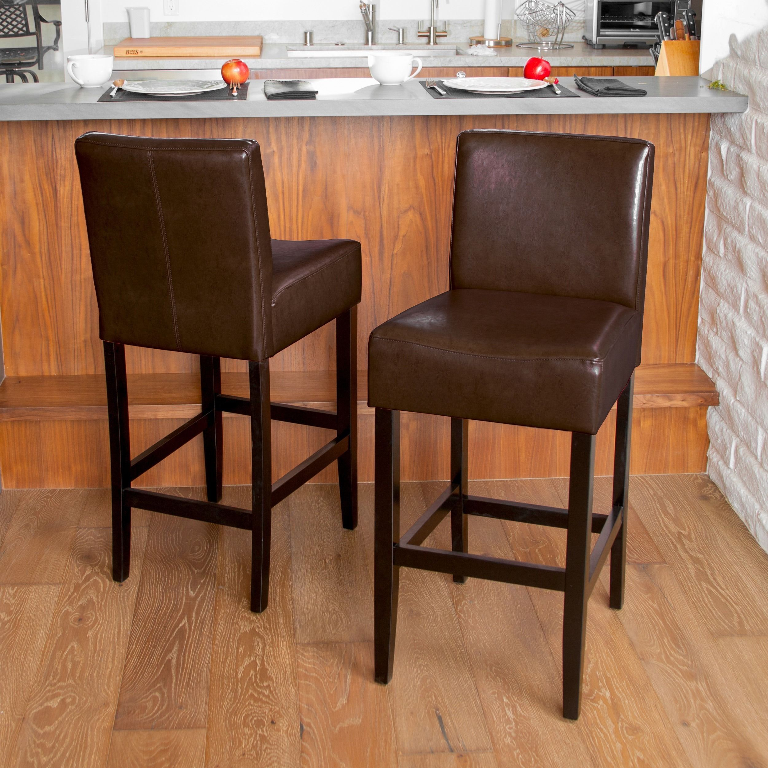 Lopez 30 Inch Brown Leather Bar Stools By Christopher Knight Home Set Of 2 Brown Leather Bar Stools Leather Bar Stools Bar Stools