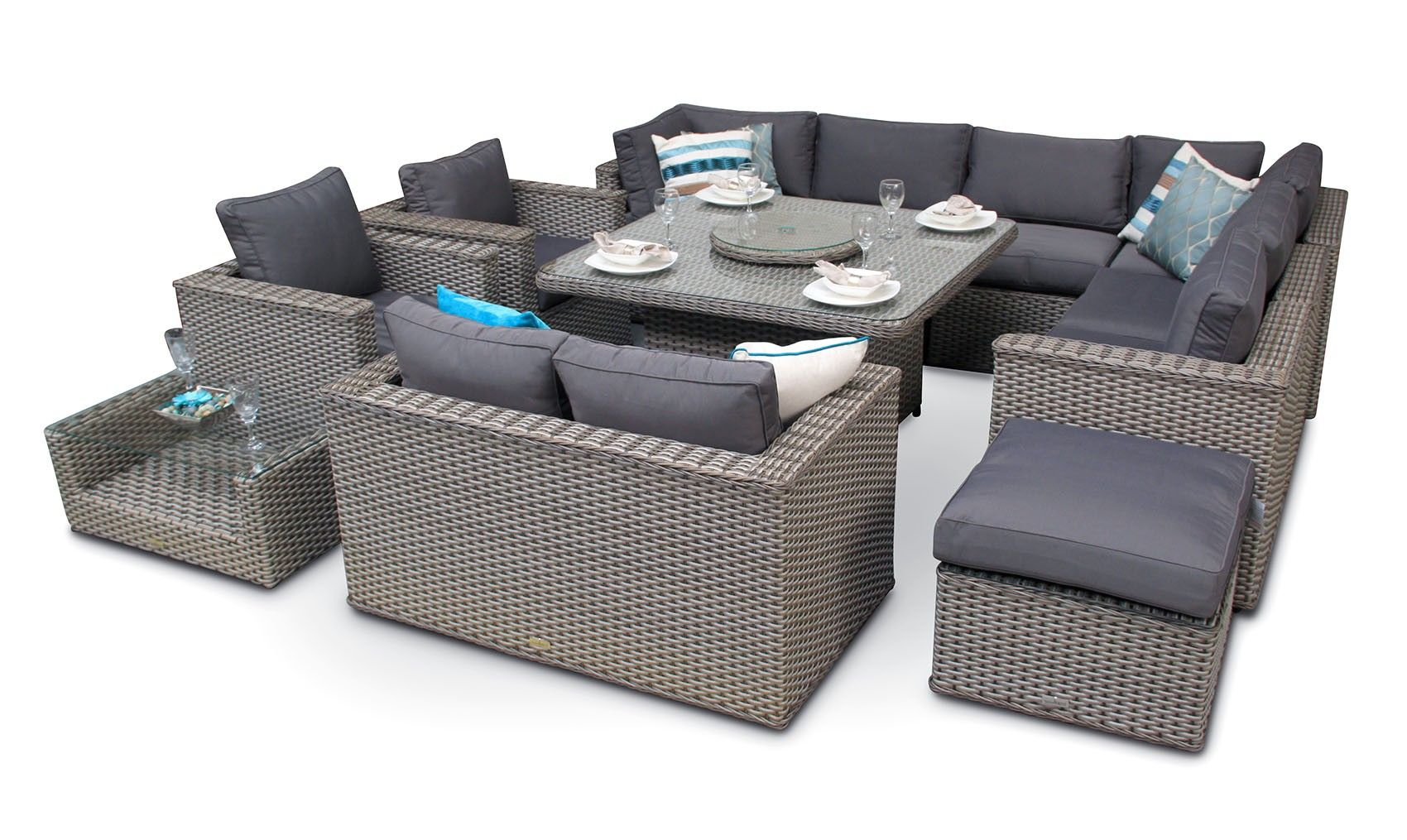 Bahia Modular Rattan Sofa Square Table Dining Set 11pc Whitewash Grey Outdoor Living Furniture Rattan Sofa Corner Dining Set