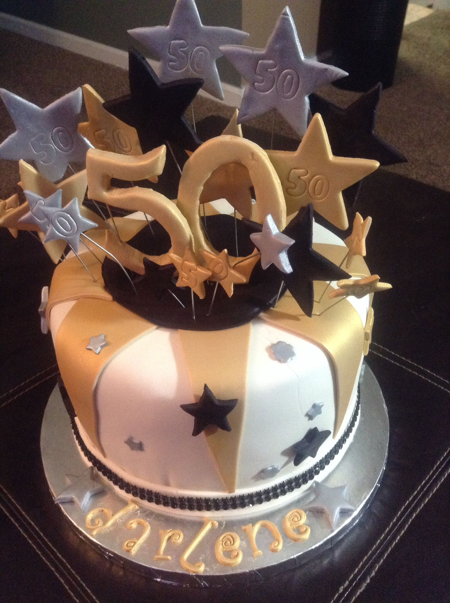 Black gold and white birthday cake Cakes By sw Shweets