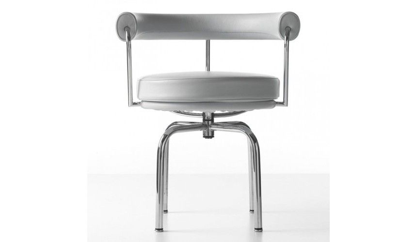 Cassina le corbusier lc7 swivel armchair white leather lcx