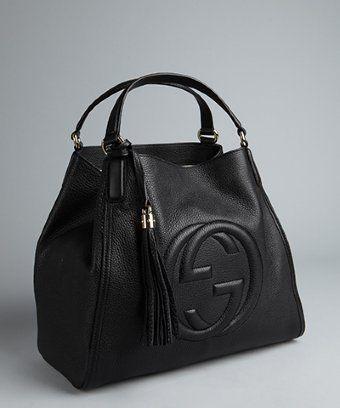 ca4228215 Gucci black textured leather 'Soho' large tote | - ladies designer handbags,  handbags black leather, black and white purse *ad