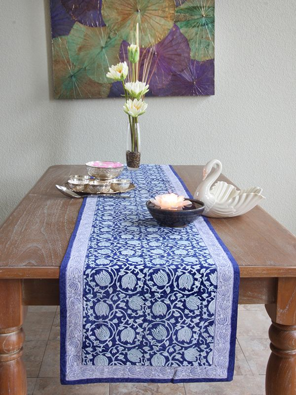 Blue Table Runner Elegant Table Runner Thanksgiving Table Runn Blue Table Runner Blue Table Table Runners