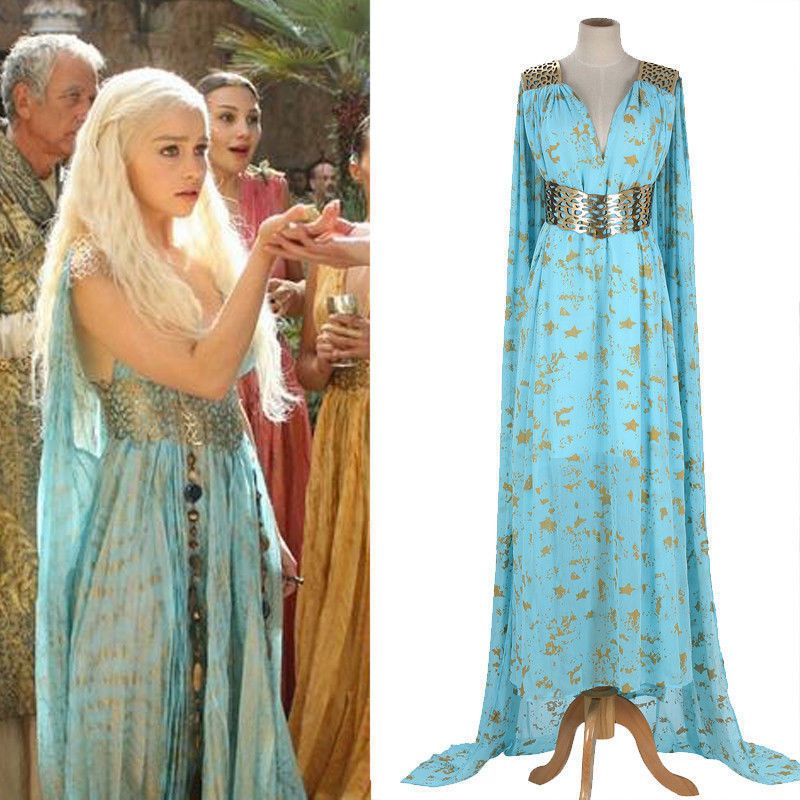 Mother of Dragons Game of Thrones Daenerys Targaryen Wigs Costume Dress Sky Blue