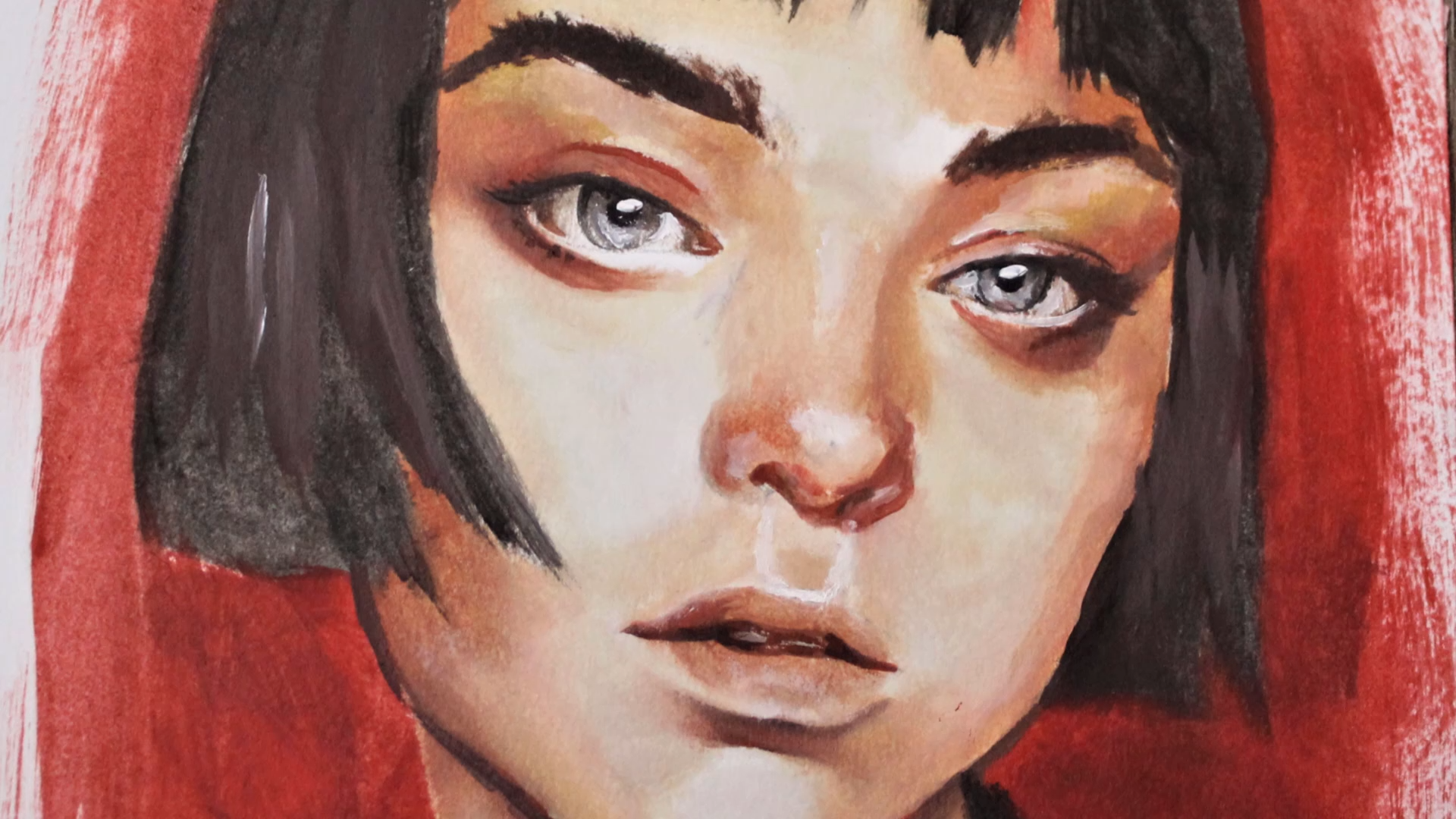 oil painting portrait time lapse from start to finish! relaxing art video, satisfying art