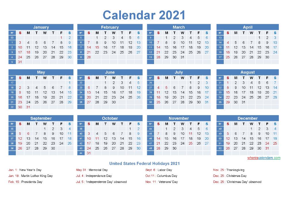 Printable Yearly 2021 Calendar in 2020 Calendar