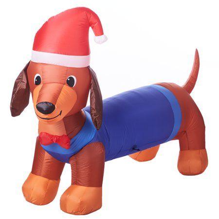 CHRISTMAS ST BERNARD DOG SANTA 7 FT AIRBLOWN INFLATABLE YARD DECORATION