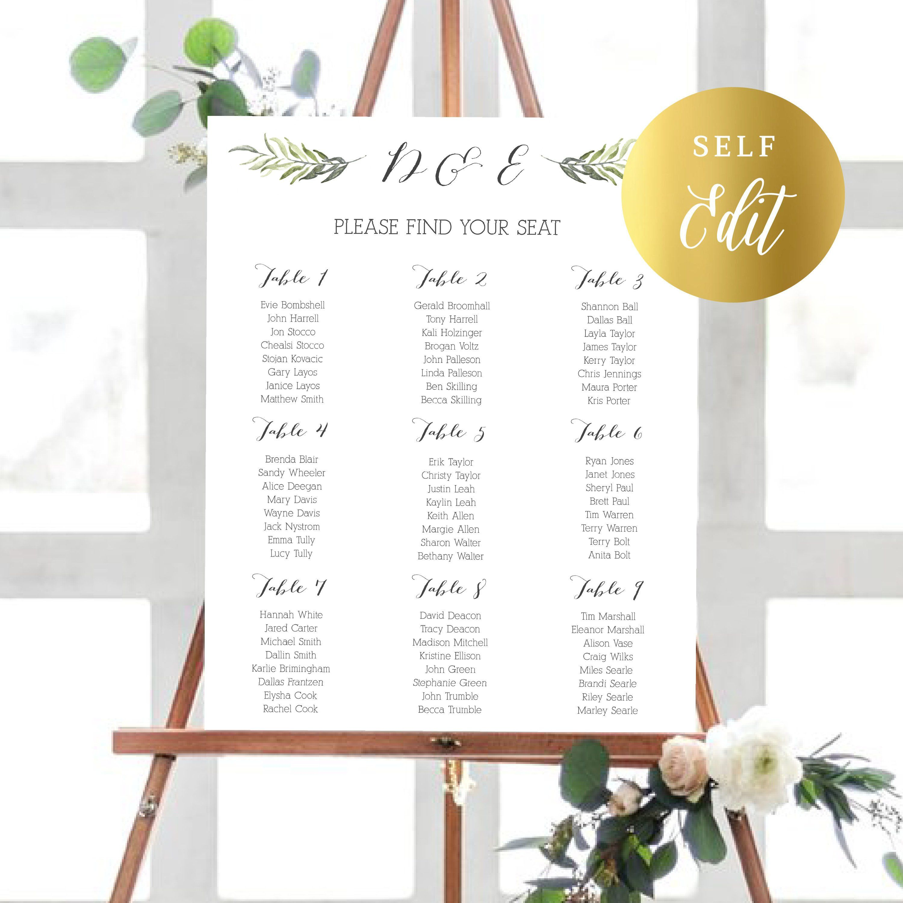 Instant download editable wedding seating chart