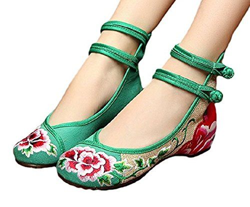 Tianrui Crown Womens Chinese Peony Embroidery Double Ankle Strap Ballet Flat Loafers Shoes -- Learn more by visiting the image link.