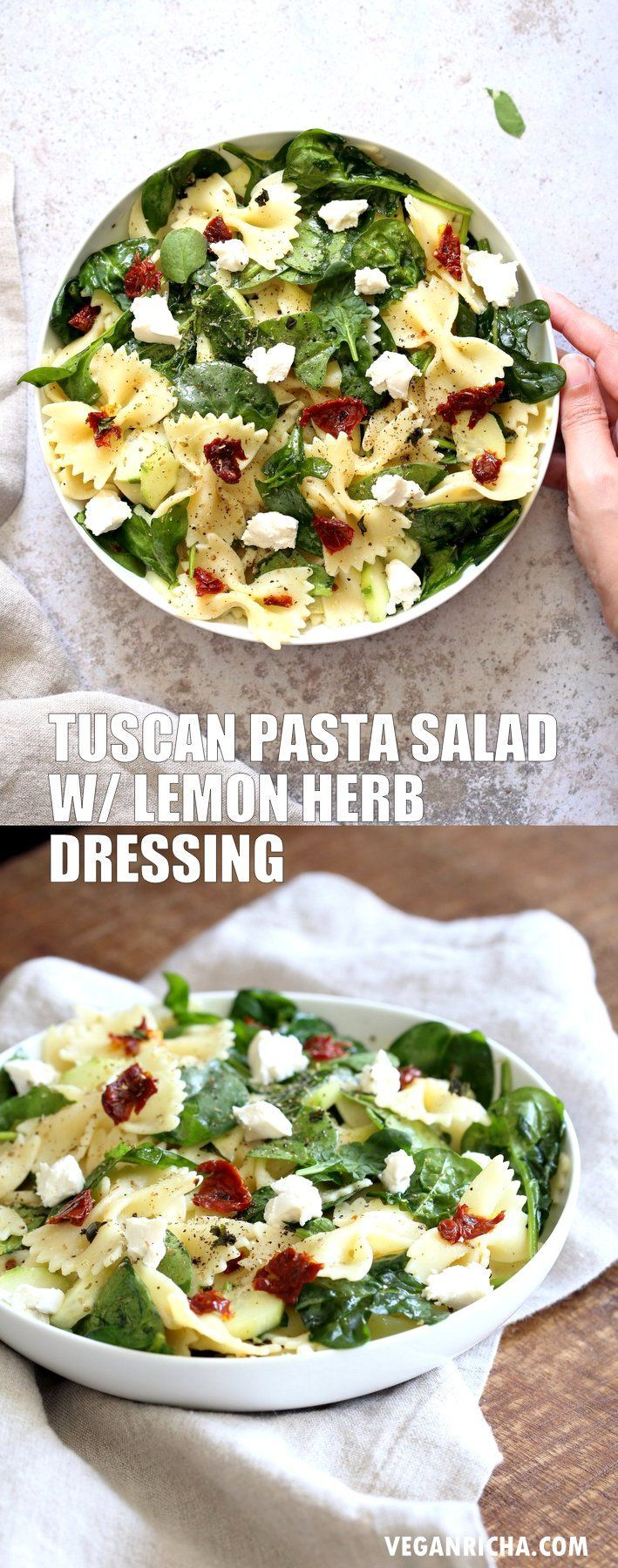 Tuscan pasta salad with herb vinaigrette with lemon and garlic Tuscan pasta salad with herb vinaigr