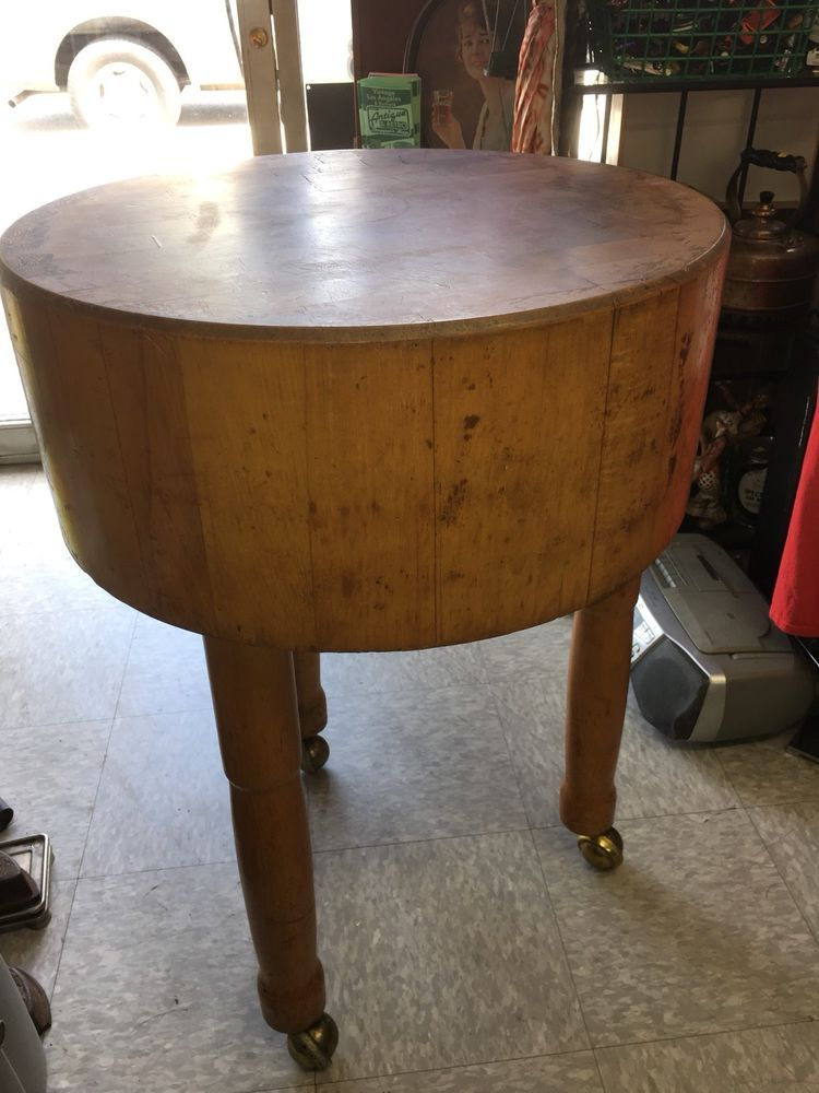Antique Round Butcher Block Chopping Table