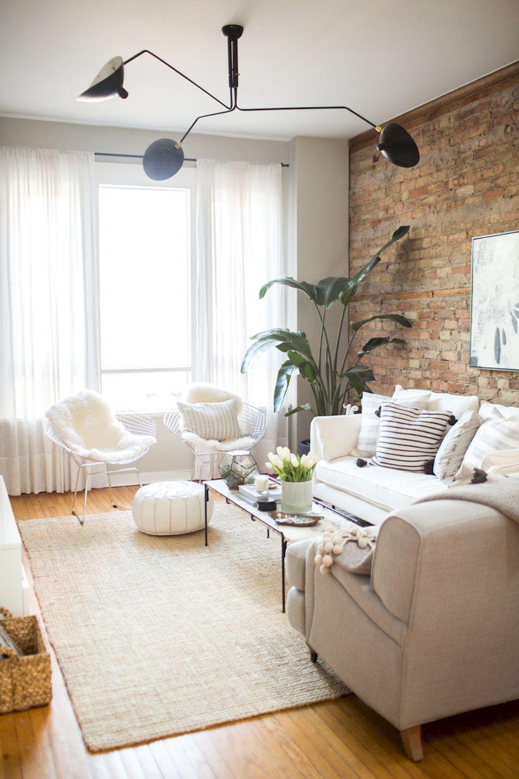 50 Shabby Chic Living Room with Brick Wall Decoration Ideas | Shabby ...