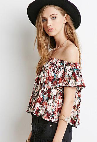 23093b3d684588 Floral Tie-Dye Off-the-Shoulder Top