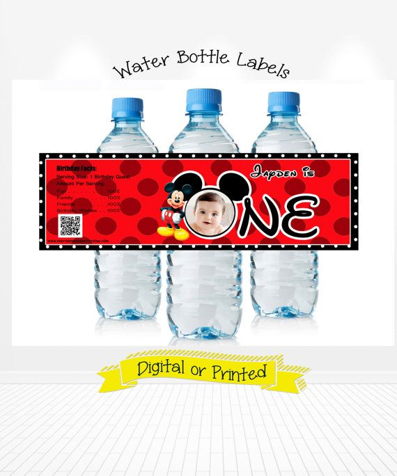Disney Mickey Mouse Birthday water bottle labels THANKS FOR VISITING