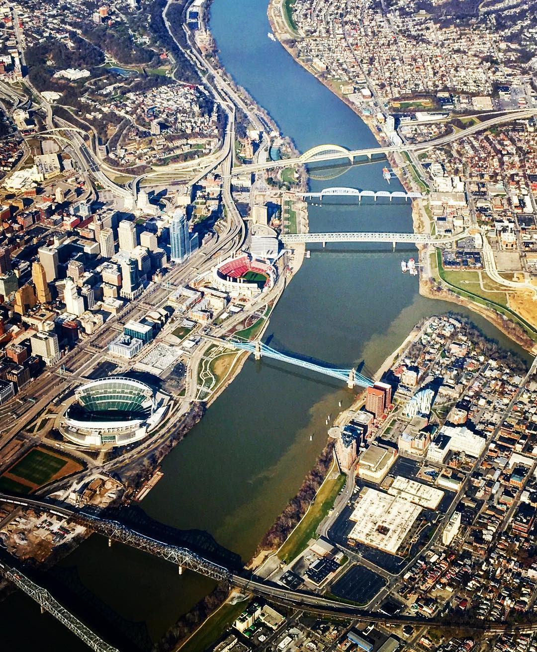 Breathtaking view of downtown Cincinnati, the Ohio River, and ... on