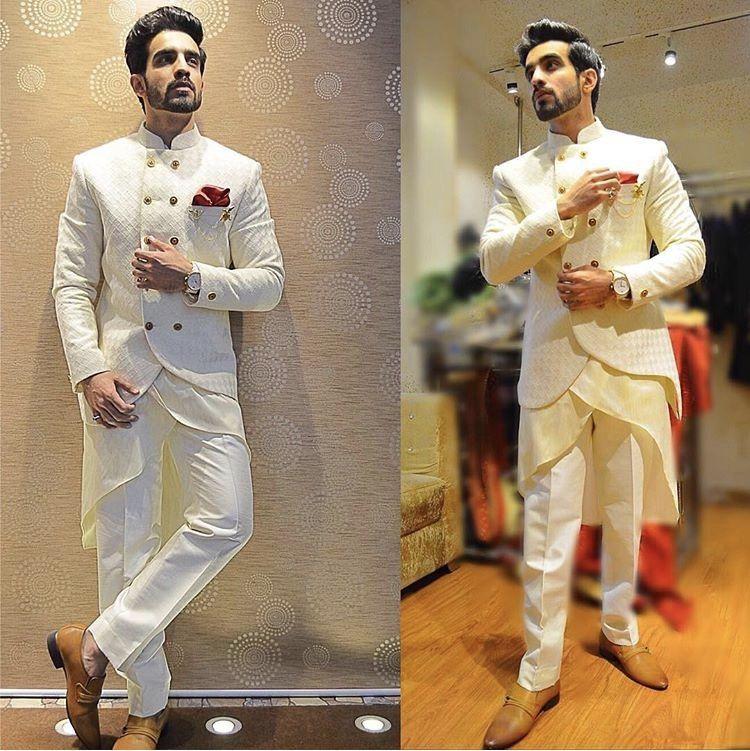 Designer Sherwani For Wedding Purpose Of Off White Colour To