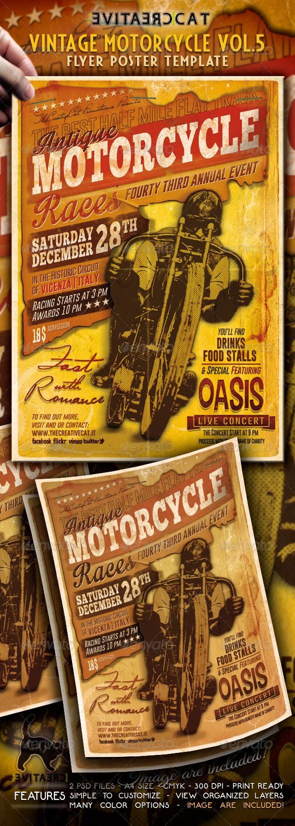 vintage motorcycle flyerposter vol 5 photoshop psd old event available here