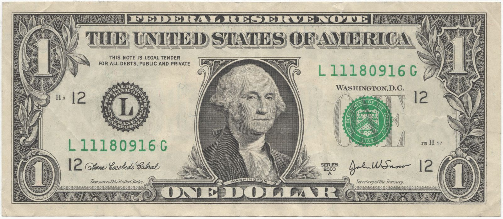United States one dollar bill, obverse