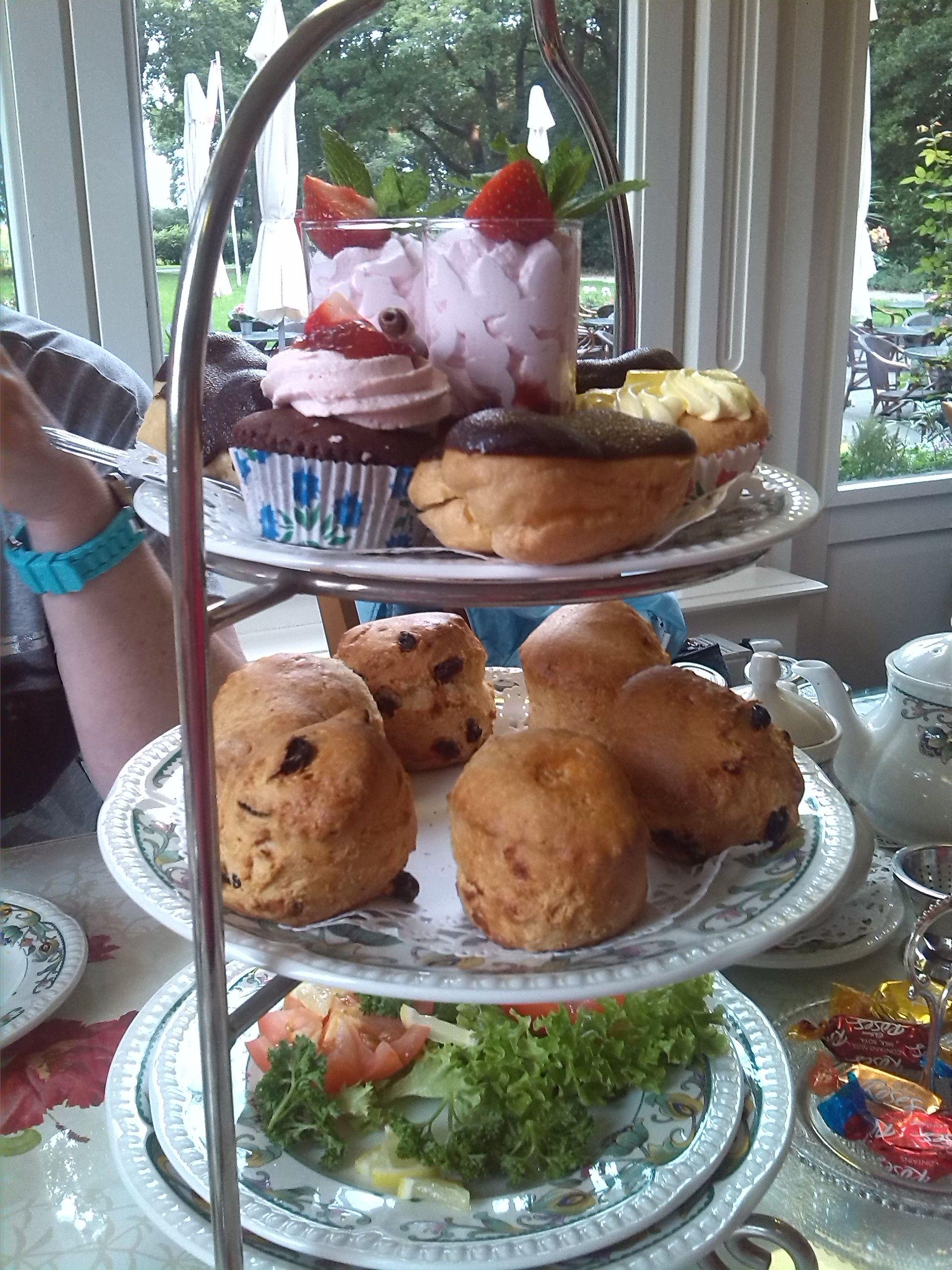 High tea at Tea Time Echten. The sandwiches at the bottom plate are eaten already....oeps.