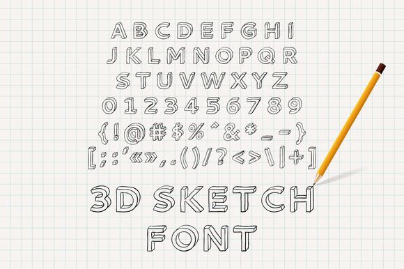 Hand drawn 3D sketch font by Magic Shop on Creative Market