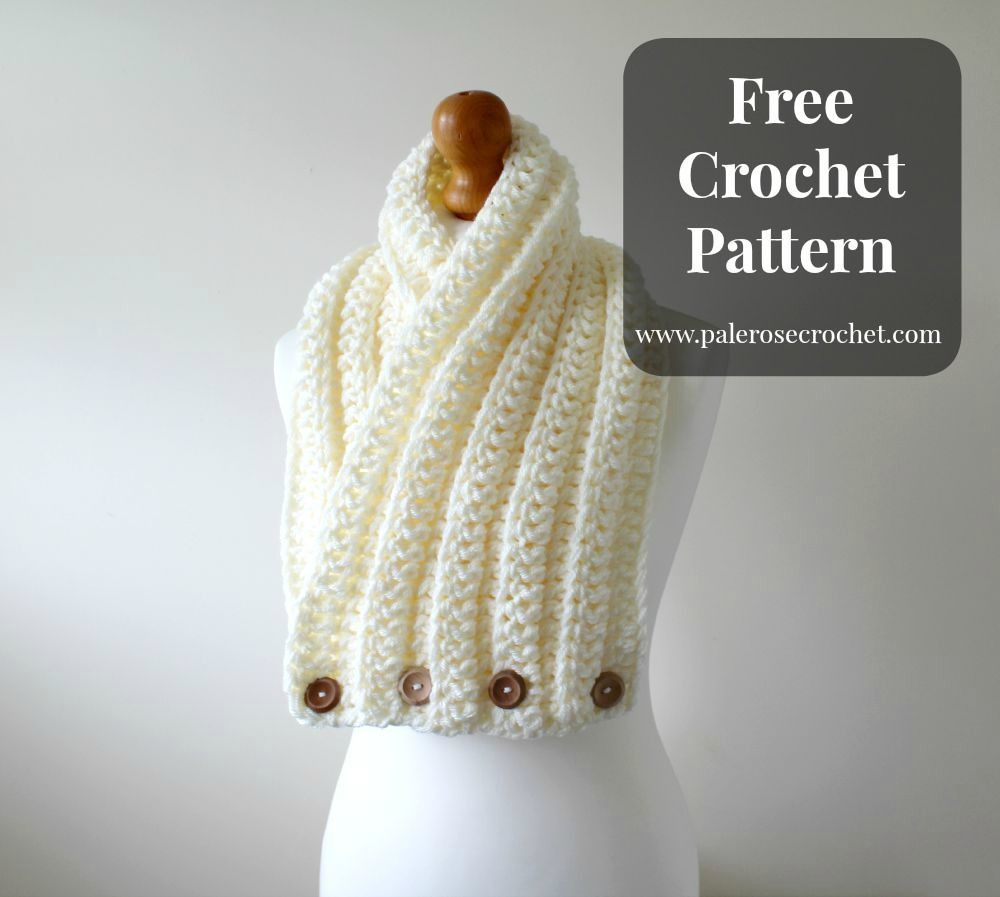 Crochet Ribbed Cowl Scarf - free pattern from Pale Rose Crochet ...